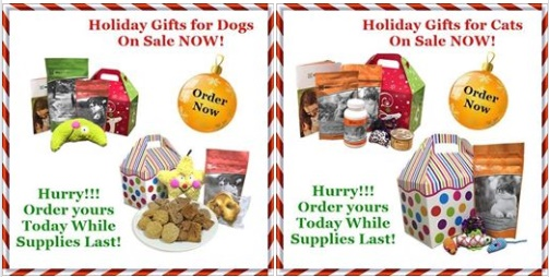 Dog and Cat Holiday Gift Baskets Now on Sale